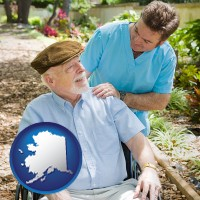 alaska map icon and a hospice care provider and an elderly patient