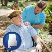alabama map icon and a hospice care provider and an elderly patient