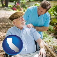 california map icon and a hospice care provider and an elderly patient