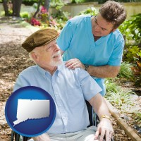 connecticut map icon and a hospice care provider and an elderly patient