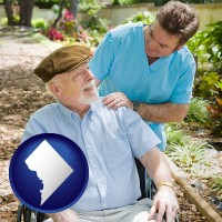 washington-dc map icon and a hospice care provider and an elderly patient