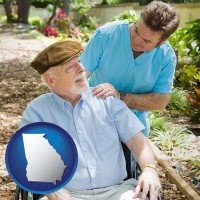 ga map icon and a hospice care provider and an elderly patient