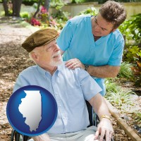 illinois map icon and a hospice care provider and an elderly patient
