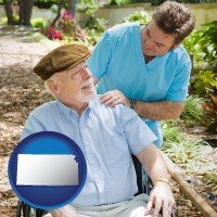kansas map icon and a hospice care provider and an elderly patient