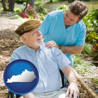 ky map icon and a hospice care provider and an elderly patient
