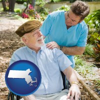 ma map icon and a hospice care provider and an elderly patient