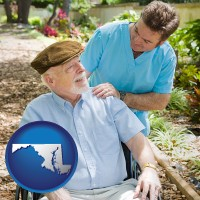 md map icon and a hospice care provider and an elderly patient