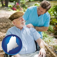 me map icon and a hospice care provider and an elderly patient