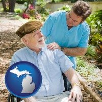 mi map icon and a hospice care provider and an elderly patient