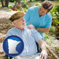minnesota map icon and a hospice care provider and an elderly patient