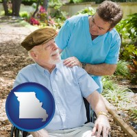 missouri map icon and a hospice care provider and an elderly patient