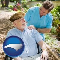 north-carolina map icon and a hospice care provider and an elderly patient
