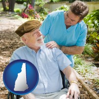 new-hampshire map icon and a hospice care provider and an elderly patient