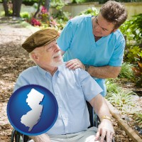 new-jersey map icon and a hospice care provider and an elderly patient
