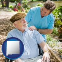 nm map icon and a hospice care provider and an elderly patient
