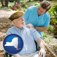 ny map icon and a hospice care provider and an elderly patient