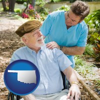 ok map icon and a hospice care provider and an elderly patient