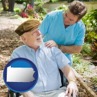 pa map icon and a hospice care provider and an elderly patient
