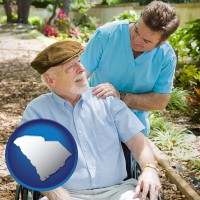 south-carolina map icon and a hospice care provider and an elderly patient