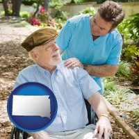 south-dakota map icon and a hospice care provider and an elderly patient