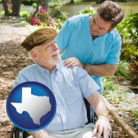 texas map icon and a hospice care provider and an elderly patient