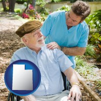 ut map icon and a hospice care provider and an elderly patient