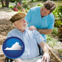 virginia map icon and a hospice care provider and an elderly patient
