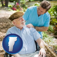vt map icon and a hospice care provider and an elderly patient