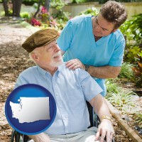 wa map icon and a hospice care provider and an elderly patient