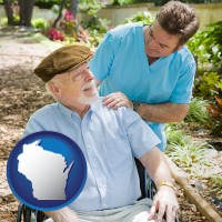 wi map icon and a hospice care provider and an elderly patient