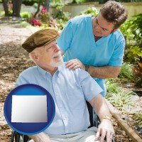 wy map icon and a hospice care provider and an elderly patient