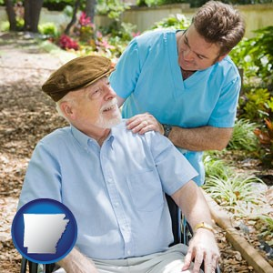 a hospice care provider and an elderly patient - with Arkansas icon
