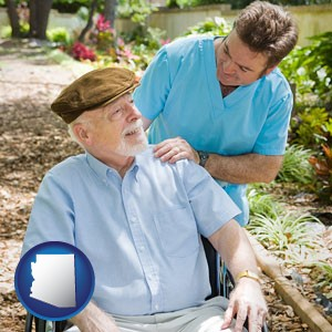 a hospice care provider and an elderly patient - with Arizona icon