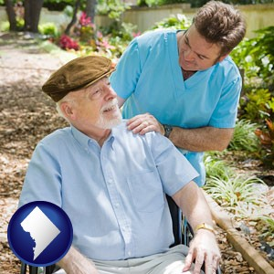 a hospice care provider and an elderly patient - with Washington, DC icon