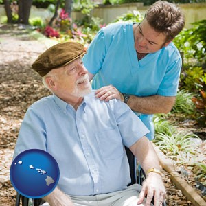 a hospice care provider and an elderly patient - with Hawaii icon