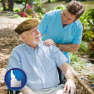 a hospice care provider and an elderly patient - with Idaho icon