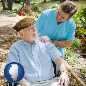 a hospice care provider and an elderly patient - with Illinois icon