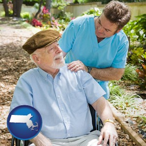 a hospice care provider and an elderly patient - with Massachusetts icon