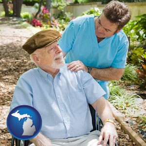 a hospice care provider and an elderly patient - with Michigan icon