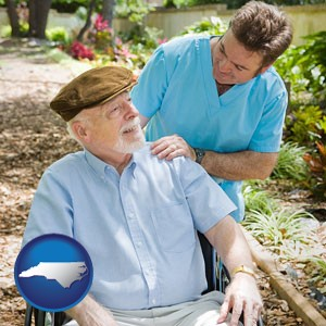 a hospice care provider and an elderly patient - with North Carolina icon