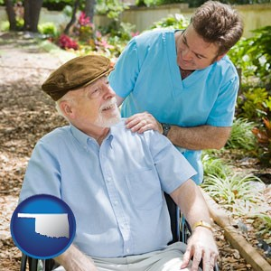 a hospice care provider and an elderly patient - with Oklahoma icon