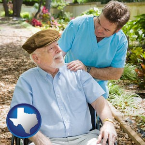 a hospice care provider and an elderly patient - with Texas icon