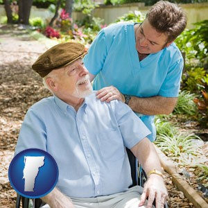 a hospice care provider and an elderly patient - with Vermont icon