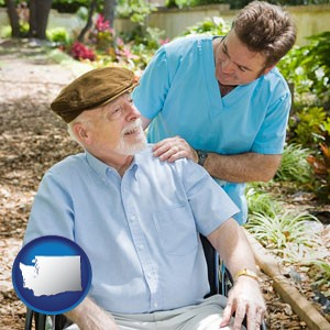 a hospice care provider and an elderly patient - with Washington icon