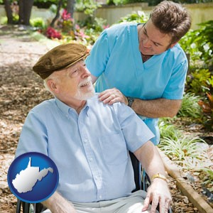 a hospice care provider and an elderly patient - with West Virginia icon